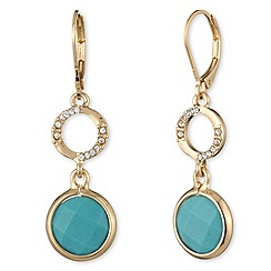 Anne Klein - Gold, turquoise and crystal double drop earrings