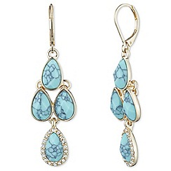 Anne Klein - Gold pave and turquoise chandelier earrings