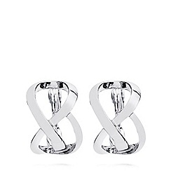 Anne Klein - Silver tone open C hoop earrings