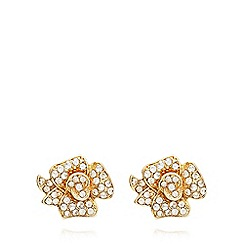 Anne Klein - Gold and crystal flower stud earrings