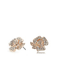 Anne Klein - Light rose gold and crystal stud earrings