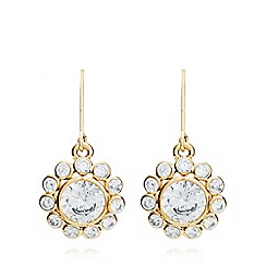 Anne Klein - Gold flower and crystal leverback drop earrings