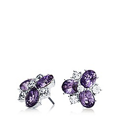 Anne Klein - Multi cluster silver and tanzanite stud earrings