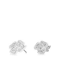 Anne Klein - Silver and crystal flower stud earrings