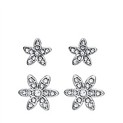 Anne Klein - Silver and faux pearl crystal flower earrings