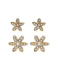 Anne Klein - Gold and faux pearl crystal flower earrings