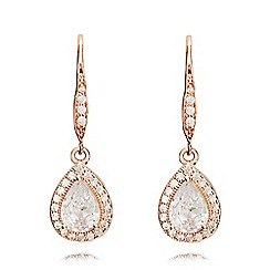 Anne Klein - Rose gold pear eurowire earrings
