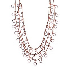 Anne Klein - Gold and crystal three row necklace