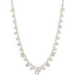 Anne Klein - Gold, crystal and faux pearl collar necklace