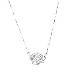 Anne Klein - Silver and crystal flower pendant necklace