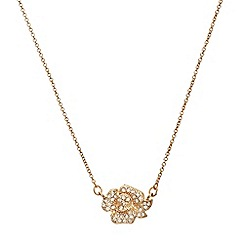Anne Klein - Gold tone necklace with flower pendant
