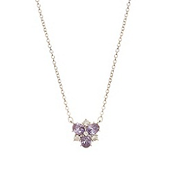 Anne Klein - Multi cluster silver and tanzanite necklace with pendant