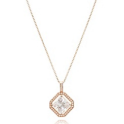 Anne Klein - Rose gold tone necklace with princess pendant