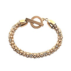 Anne Klein - Gold, faux pearl and crystal toggle bracelet