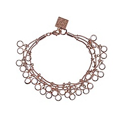 Anne Klein - Rose gold and crystal three row bracelet