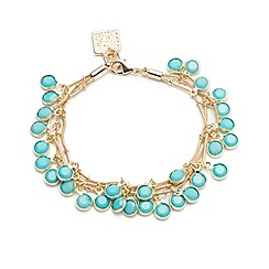 Anne Klein - Gold and turquoise three row bracelet