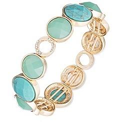 Anne Klein - Gold, crystal, turquoise stretch bracelet