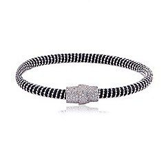 Ingenious - Black and silver silk bracelet with silver pave magnetic clasp