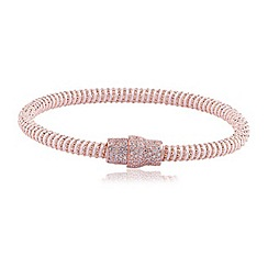 Ingenious - White and rose gold silk bracelet with rose gold pave magnetic clasp