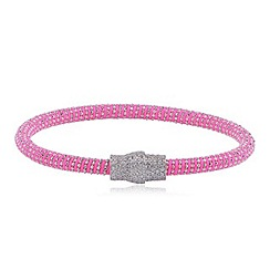 Ingenious - Pink and silver silk bracelet with silver pave magnetic clasp
