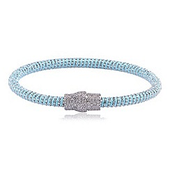 Ingenious - Pale blue and silver silk bracelet with silver pave magnetic clasp