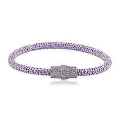 Ingenious - Lilac and silver silk bracelet with silver pave magnetic clasp