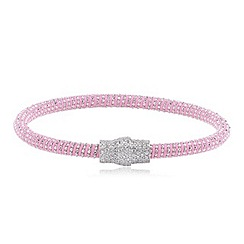 Ingenious - Pale Pink and silver silk bracelet with silver pave magnetic clasp