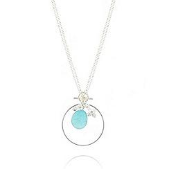 Pilgrim - Silver bezel set blue pendant necklace