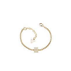 Guess - Gold plated bracelet with a single sliding crystal set