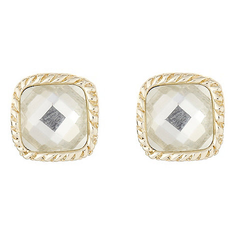 No. 1 Jenny Packham - Gold square faceted jewel stud earrings