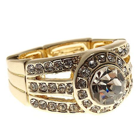 No. 1 Jenny Packham - Gold elasticated diamante stone ring