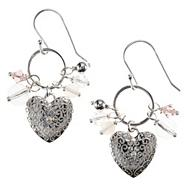 Sterling silver bead and heart cluster earrings