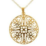 Gold plated sterling silver filigree pendant