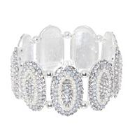 Silver pave oval stretch bracelet