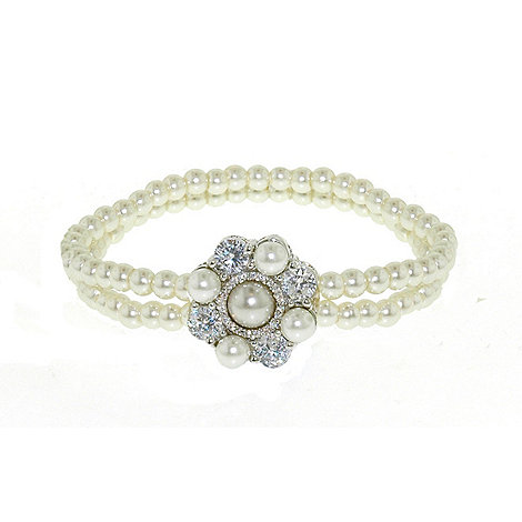 Finesse - Double strand stretch white pearl embellished bracelet