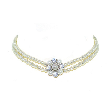 Finesse - Embellished double strand white pearl necklace