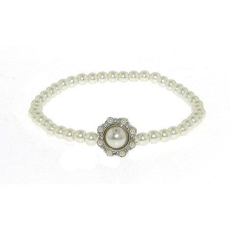 Finesse - Single strand stretch white pearl cluster bracelet