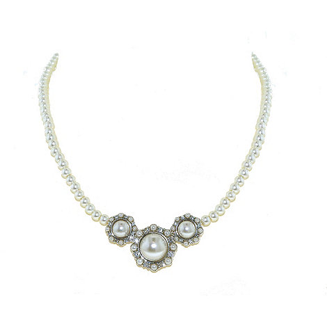 Finesse - Triple cluster white pearl single strand necklace