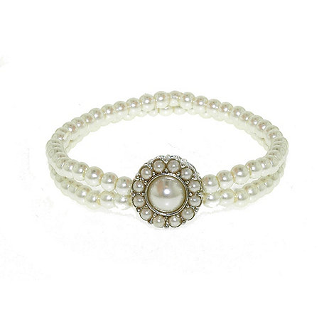 Finesse - Double strand stretch white pearl cluster bracelet