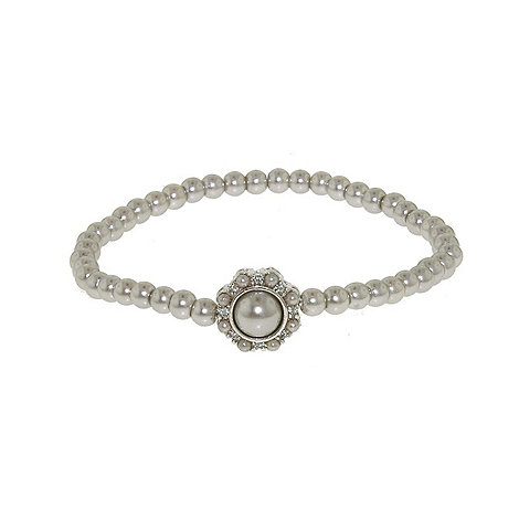 Finesse - Single strand stretch soft grey pearl cluster bracelet