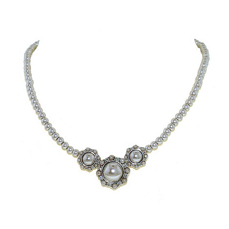 Finesse - Triple cluster soft grey pearl single strand necklace