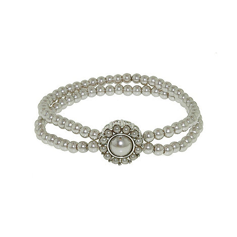 Finesse - Double strand stretch soft grey pearl cluster bracelet