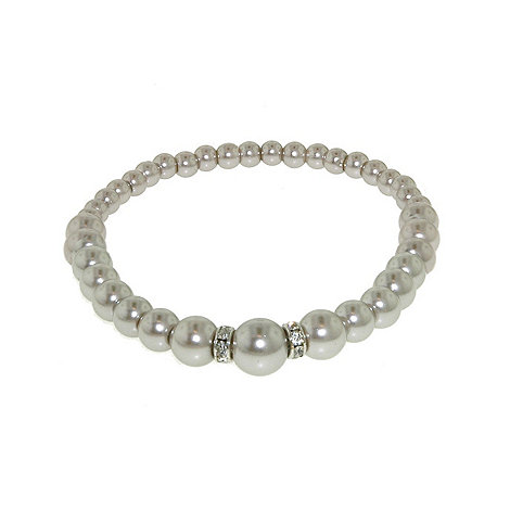 Finesse - Soft grey pearl rondel stretch bracelet