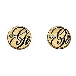 Guess - Gold plated disc stud logo earrings ube81308