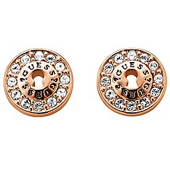 Guess - Rose gold plated earrings with circular Swarovski crystal accents ube71331