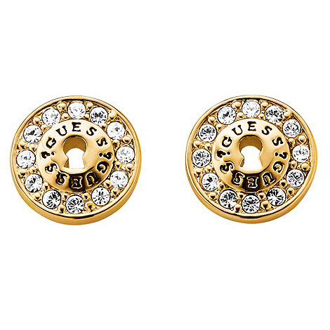 Guess - Gold plated stud logo earrings ube71330