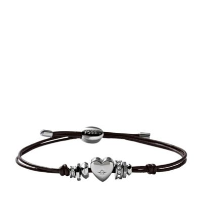 Heart Iconic Leather Brown Leather Bracelet