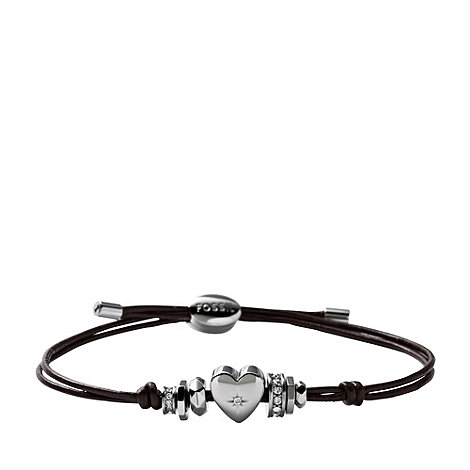 Fossil - Heart +Iconic Leather+ brown leather bracelet