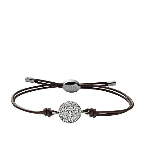 Fossil - Crystal encrusted +Iconic Leather+ brown leather bracelet