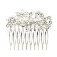 Designer silver pearly and diamante flower hair comb